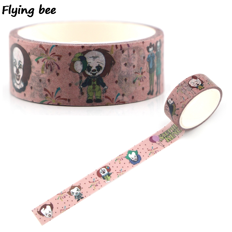Flyingbee 15mmX5m Paper Washi Tape Stephen King's It Cool Adhesive Tape DIY Scrapbooking Sticker Fashion Masking Tape X0335
