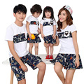 2017 Summer Family Look Mother and Daughter Dresses Father and Son T-shirt pants Printed Cloth patchwork Matching Family Clothes