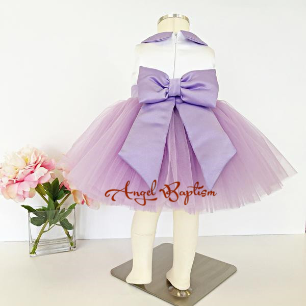 653d65cd6 Unique Purple and white flower girl dresses peter pan collar knee ...