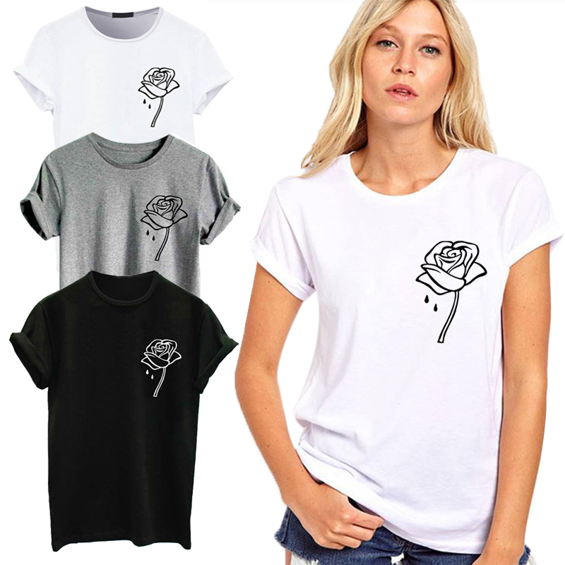 Cute Rose Print Women t shirt Summer Casual Short Sleeve O Neck t-shirt For Women Ladies White TShirt Tops Tee camiseta mujer корсет хот шейперс