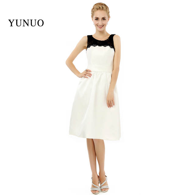 Online Shop The most beautiful Lovely Knee-length Women dress with  sleeveless O-neck 2019 short Beige prom dress x08031  f97d23637100