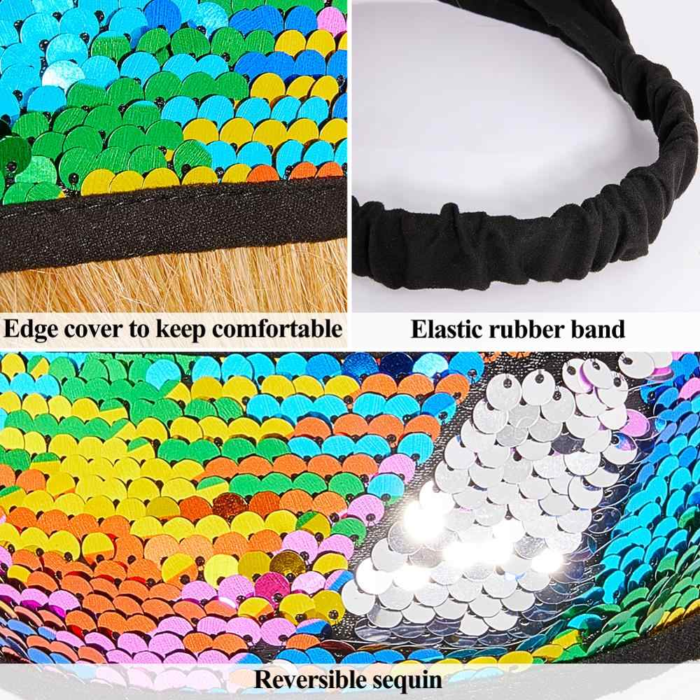 Fioday New Sequin Fip Hair Bands for Girls Wide Elastic Pink and Gold Cover Headbands Bandages for Kids Hair Accessories