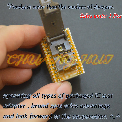 IC TEST QFN8 to DIP8 Programmer adapter WSON8 DFN8 MLF8 test socket Pitch=0.65mm Size=3.3x3.3mm