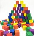 Ailin Color Madera Cúbicos Ladrillo Juego Pieza (juego de 100 Unids) DIY Bloques de 2.5 cm Con Caja De Plástico Dados Juego Juguetes De Madera Cubos