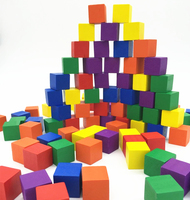 Ailin Color Wood Cubic Brick Game Piece (Set of 100Pcs) DIY Blocks 2.5cm With Plastic Box Dice Set Toys Wooden Cubes