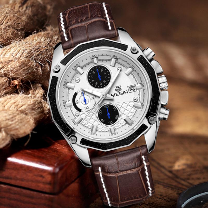 Prix pour 2017 Megir Chronographe Montres Hommes de Montre De Luxe Marque Célèbre Homme Horloge Hommes Quartz-Montre Hodinky Hommes Montre-Bracelet Montres Hombre