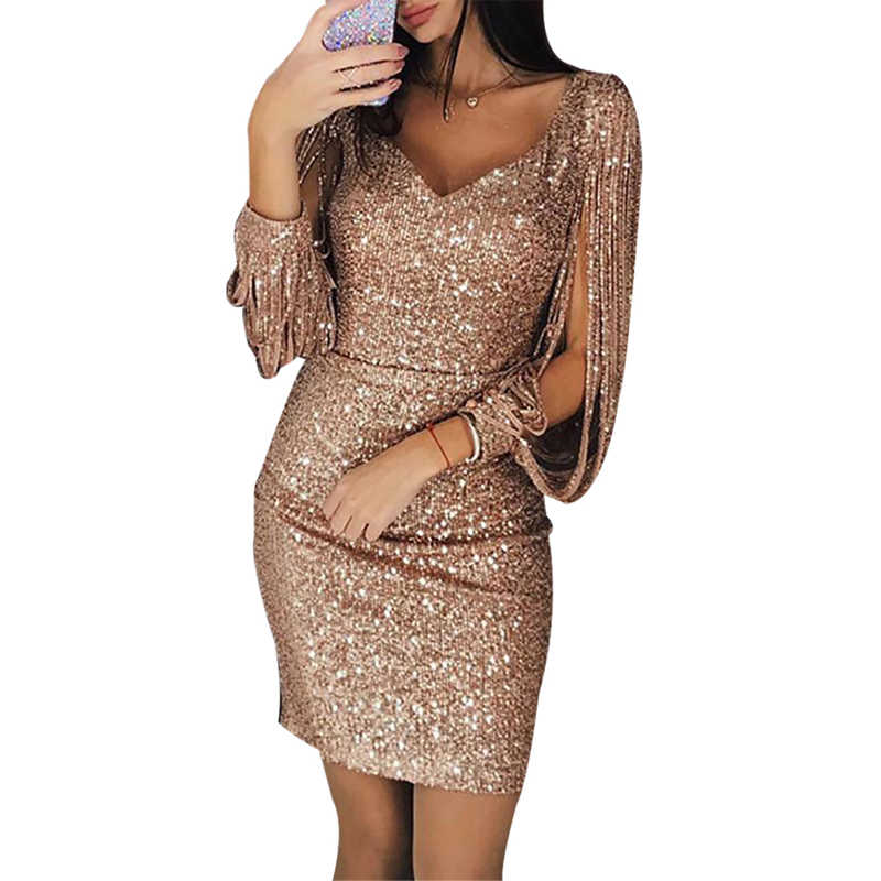 Tassel Long sleeves Sequin Dress Women Sexy V Neck Silver Black Bodycon Dresses  Autumn Elegant Party 1e0b990694e8