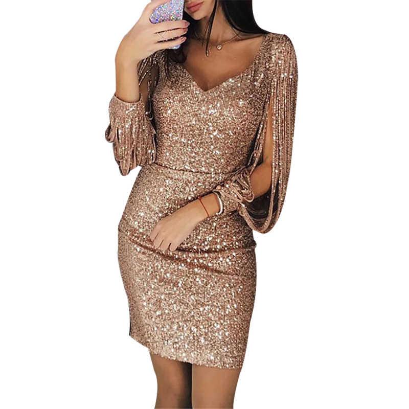 Tassel Long sleeves Sequin Dress Women Sexy V Neck Silver Black Bodycon  Dresses Autumn Elegant Party b2414aff6deb