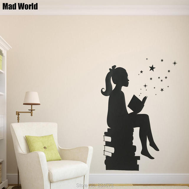 Mad World Girl Reading Books Silhouette Wall Art Stickers Wall Decal Home  DIY Decoration Removable