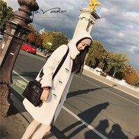 JUPITER VENDUE Kobiet Studentów Mirage Australijska Wełna Płaszcz Przycisk Klaksonu Klamra Anglia Style Biały 58879