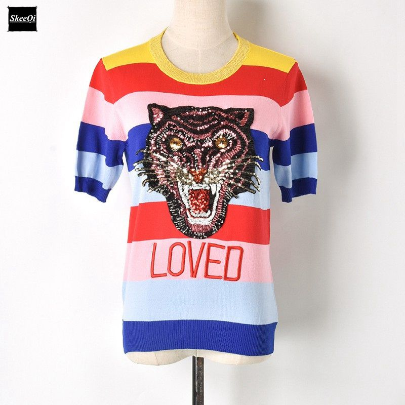 2018 New Summer Fashion T Shirts Striped Female Rainbow Sequins Tiger Letter Womens T-shirt Knitted Runway Designer Tops Jumper