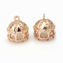 6PCS 13MM 24K Champagne Gold Color Plated Brass Dome House Charms Pendants High Quality Diy Jewelry Accessories