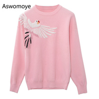 2018 New Spring Women Sweater O neck Full Sleeve Pullovers Embroidered Knitted Tops Female Jumper Pink Black Tunic Haute Couture