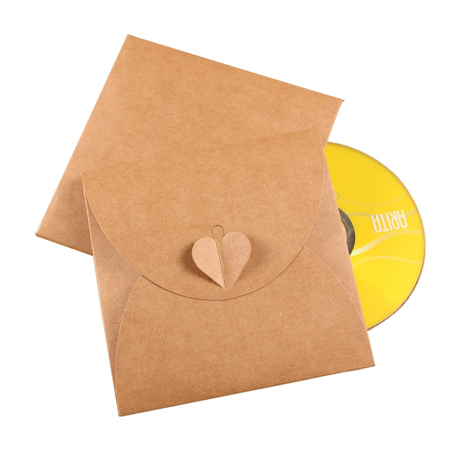 5 Pcs/lot 13x13cm Vintage Heart Kraft Paper Invitation Cards Bags CD Optical Disc Paper Bag DIY Multifunction DVD Bag