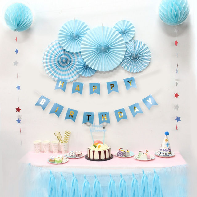 Blue Birthday Party Paper Decoration Kit Banner Tassel Garland Fan Rosettes Honeycomb Balls Star For Boy