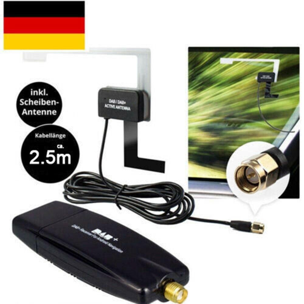 RECEIVER MIT SCHEIBEN-ANTENNE ADAPTER STICK FÜR ANDROID AUTORADIO KFZ USB DAB