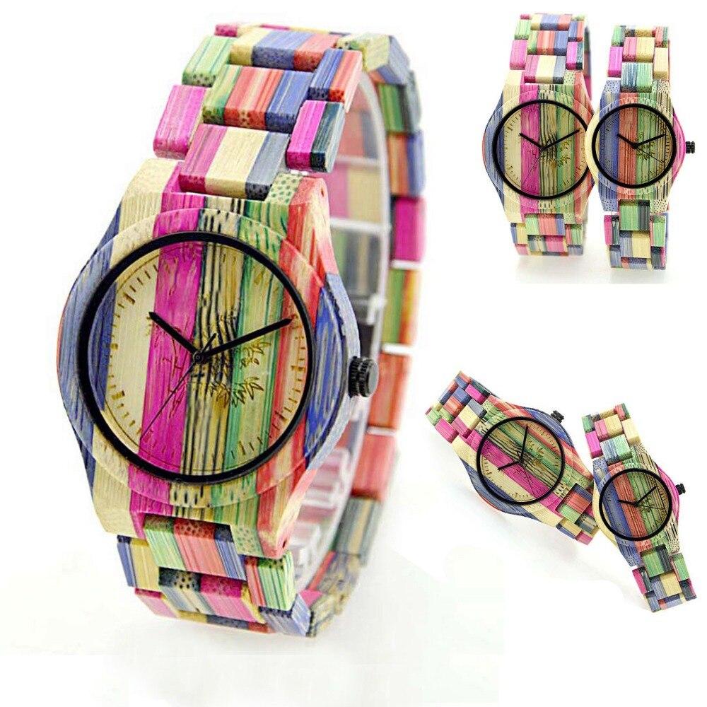 New Arrival Women Rainbow Wood Grain Watch Female Wooden Wristwatch Quartz Wood Watches Relogio Feminino Relojes For Men Women