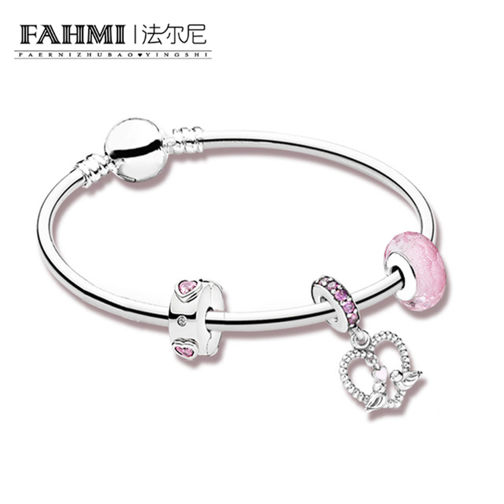 FAHMI 100% 925 Sterling Silver Genuine Charm Love Lifetime Bracelet Set Valentine's Day Gift Original Women Jewelry