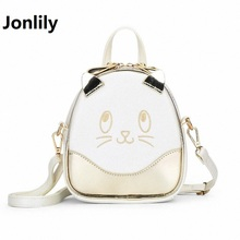 Jonlily Cat Backpack Women Cartoon School Bags For Teenagers Girls PU Leather Women Backpack Brands Mochila Female bag-SLI-321
