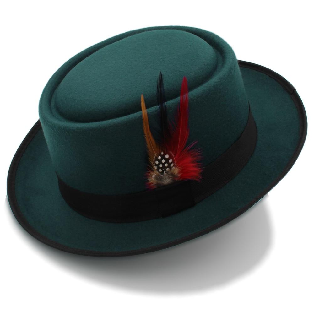 Fashion Women Men Pork Pie Hat Dad Wool Flat Fedora Hat Lady Gentleman Gambler Panama Trilby Hat With Fashion Feather Size 58CM 1