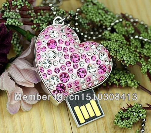 USB Flash Drive jewelry Diamond crystal heart metal necklace 8GB 16GB USB Flash Drive 2.0 Memory Drive Stick Pen/Thumb/ S48 BB