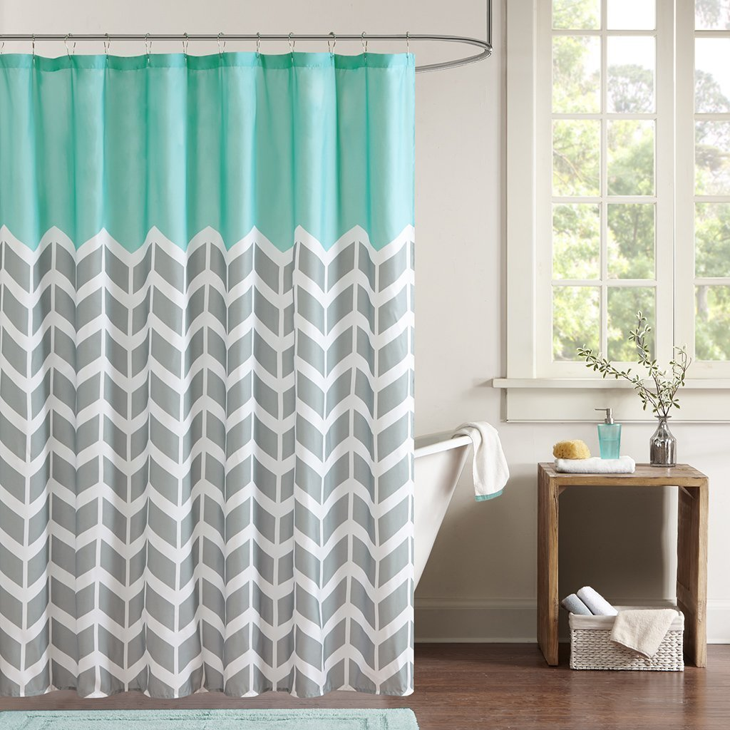 Blue Gray White Chevron Zigzag Pattern Bath Curtains, 100% Polyester Fabric Waterproof Shower Curtains, Non Peva