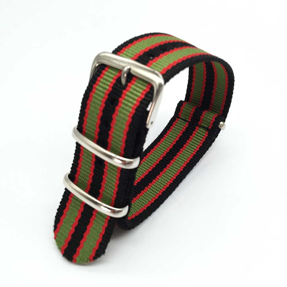 18 20 22 24 Mm Colorful Striped Nato Strap For Army Sport Watch Nylon Watchband Strap On For Hours For James Bond Watch