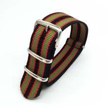 Bracelet Nato rayé coloré pour montre de Sport de l'armée, en Nylon, pour les heures de la montre James Bond, 18 20 22 24 mm