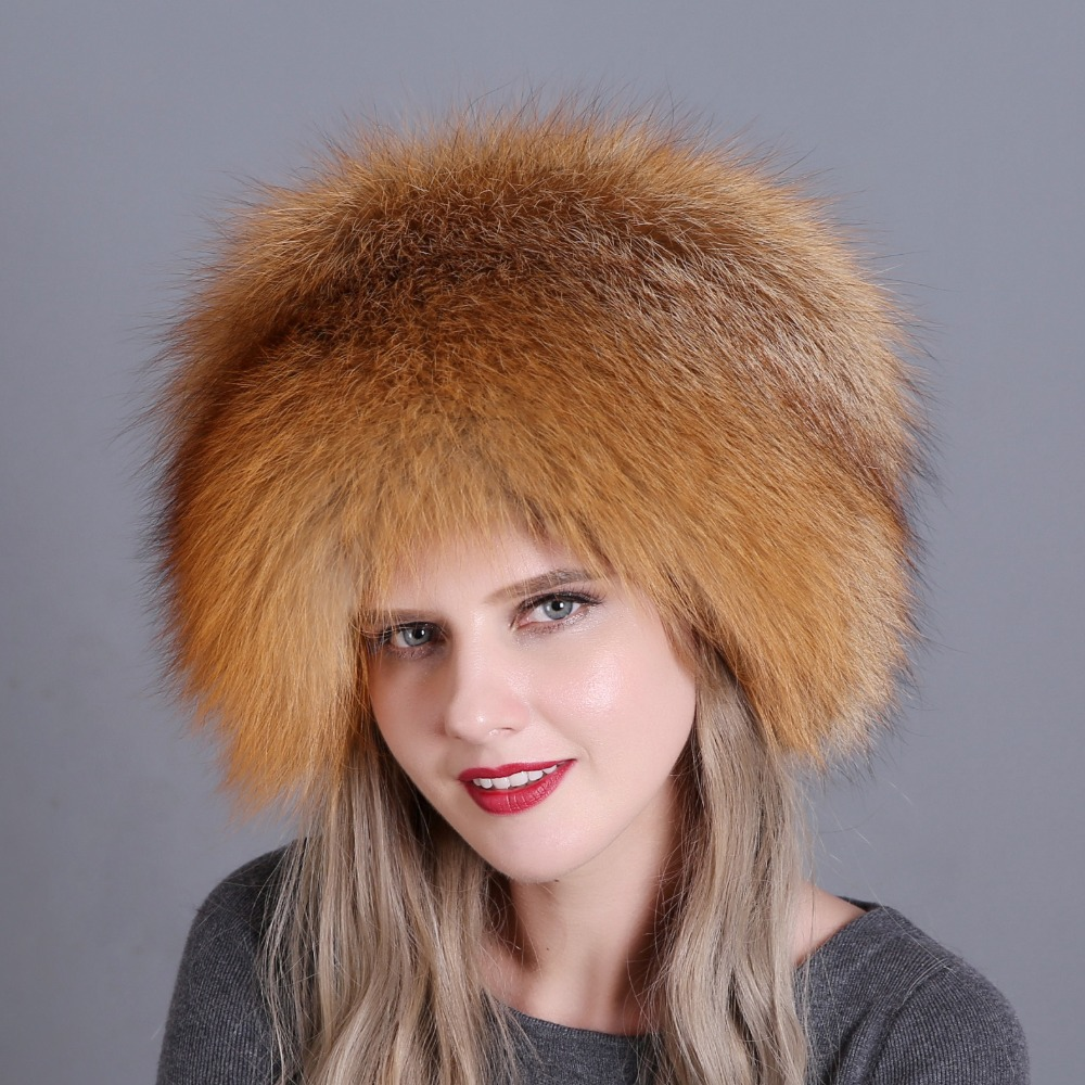 Image 4 - Hat Women's Winter Skullies Women Cap Warm Fur Pompom Thick Natural Fox Fur Cap Real Fur Hat Women Knitted Hat Female Cap-in Women's Skullies & Beanies from Apparel Accessories