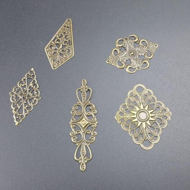 lozenge Metal Filigree Flowers Slice Charms base Setting Jewelry DIY Components Findings 2