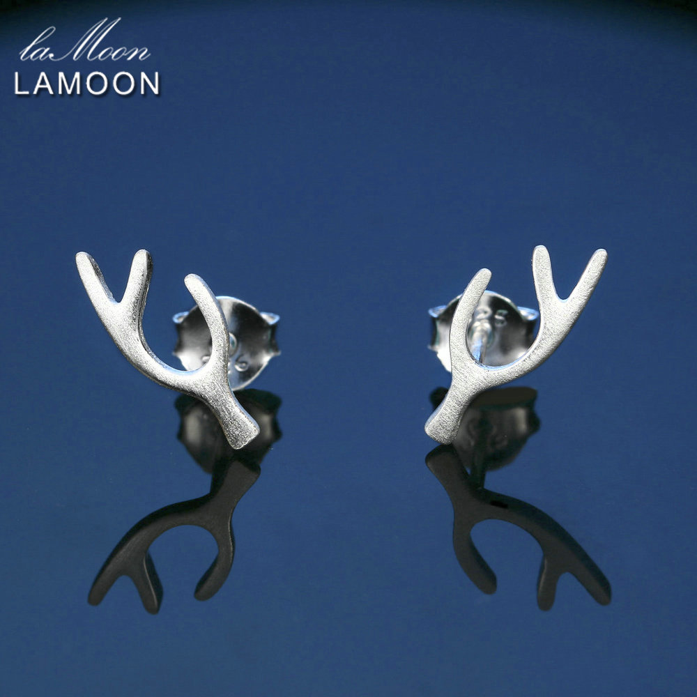LAMOON Unique Antlers Wiredrawing Design 100% 925 Sterling Silver Earrings S925 Fine Jew ...