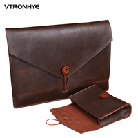 13 15 Inch Genuine Leather Laptop Bags For Macbook Pro 13 Touch Bar 2016 New Fashion