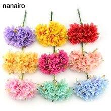 Barato 6Pcs Artesanal Artificial Silk Rose Bouquet Decoração de Casamento Artesanato Acessórios DIY Coroa de Flores de Papel Tissue Flor Falsificada