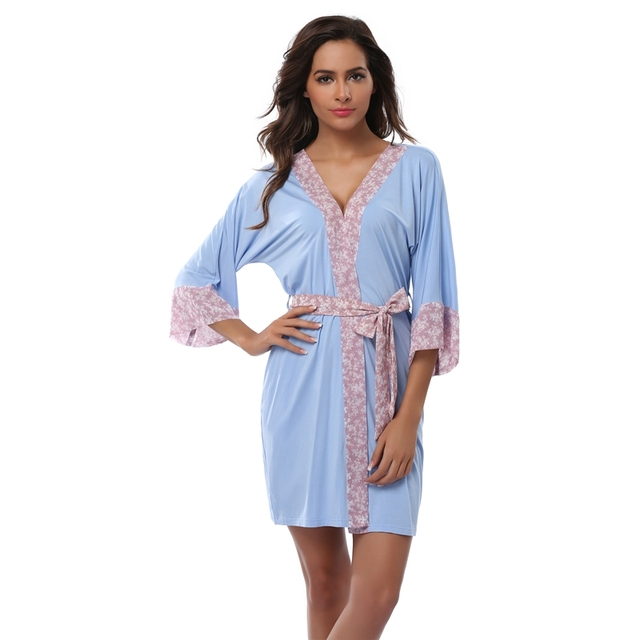 8a92eebd21 FE DIE Women s Short Bathrobe Modal Chiffon Floral Robe Pajamas Gown Bathrobe  Women s Sexy Nightdress Sleepwear Spa Robe
