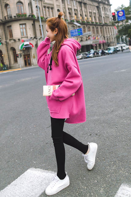 bb2476e0a5a women Harajuku long loose hooded hoodies pullovers casual students korean  style large size plus size rose red beige hoodies 2018