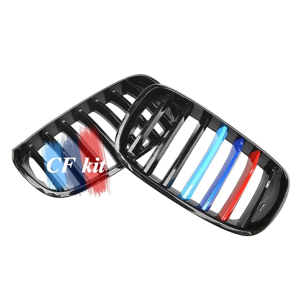 Kit CF grilles de course de qualité supérieure pour BMW E70 E71 X5 X6 X5M X6M avant rein noir brillant M couleur simple lamelle Grill voiture