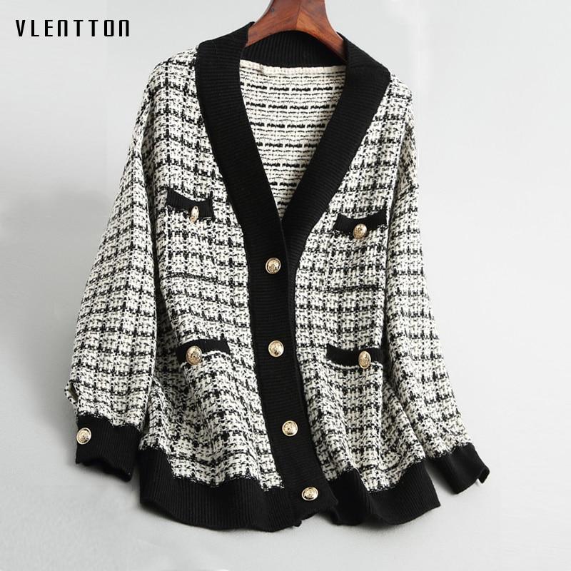 Spring Autumn vintage Plaid Soft Wool Knit Jackets Coat Women V-Neck Oversize Korean Sweater Cardigan Loose Outwear Tops Female 1