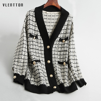 Spring Autumn vintage Plaid Soft Wool Knit Jackets Coat Women V-Neck Oversize Korean Sweater Cardigan Loose Outwear Tops Female 1
