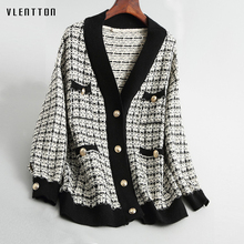 2019 New vintage Morbido Donne Giacca di lana Con Scollo A V A Maniche Lunghe di Lana Del Cappotto Femminile di autunno della Molla Allentato Plaid Femminile Giacca Cappotto