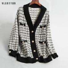 цена на 2019 New vintage Soft wool Jacket Women V-Neck Long Sleeve Knit Coat Female Spring autumn Loose Plaid Female Jacket Overcoat
