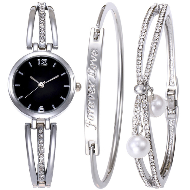 2018 Luxury Rhinestone Zinc Alloy Bracelet Watch Set For Women Fashion Jewelry A