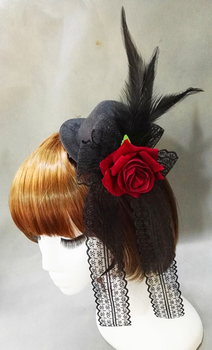 Vintage Halloween Lady Mini Top Hat Black With Red/Blue Rose Feathers Fancy Dress Lolita Hats Handmade
