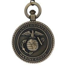 0d003a4fb4c Steampunk 3D EUA United States Marine Corps Retro Bronze Relógio de Bolso  com Colar de Cadeia para Mulheres Dos Homens Coleção d.