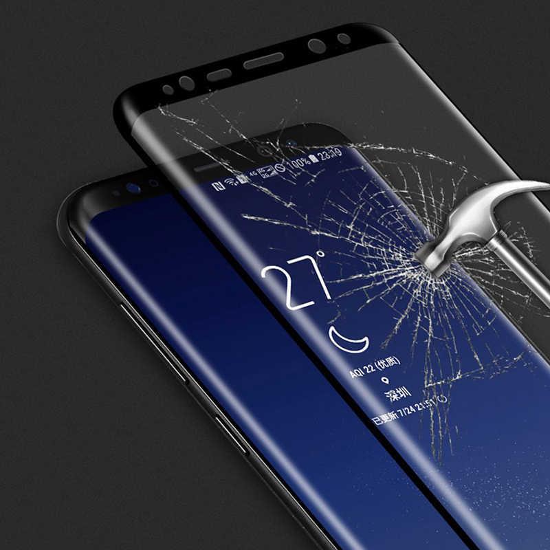 الزجاج المقسى ثلاثية الأبعاد واقي للشاشة على لسامسونج غالاكسي S8 S9 Plus 6D كامل منحني الزجاج على S7 حافة نوت 8 A6 A8 زائد S8 S9 فيلم
