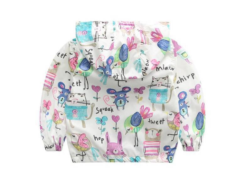 CUte Rabbit Graffiti Kids Jacket For Girls Trench Coats Spring Sunscreen Clothing Comfortable Girl Jackets Girls Outerwear Coats (3)