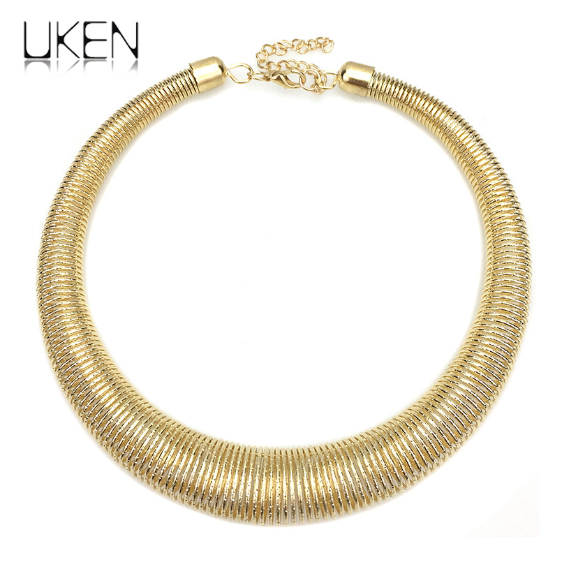 UKEN Women Chunky Metal Torques Collar Chokers Necklaces Fashion Jewelry Punk Accessories Statement Necklace Wholesale Gift