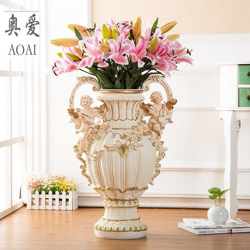Resin Creative Angel Flowers Vase Pot Vintage Fairy Vase Home Decor Crafts Room Decoration Large Floor Vase Resin Figurines Gift