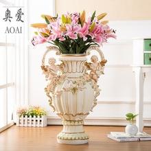 resin creative angel flowers vase pot vintage Fairy home decor crafts room decoration large floor figurines gift