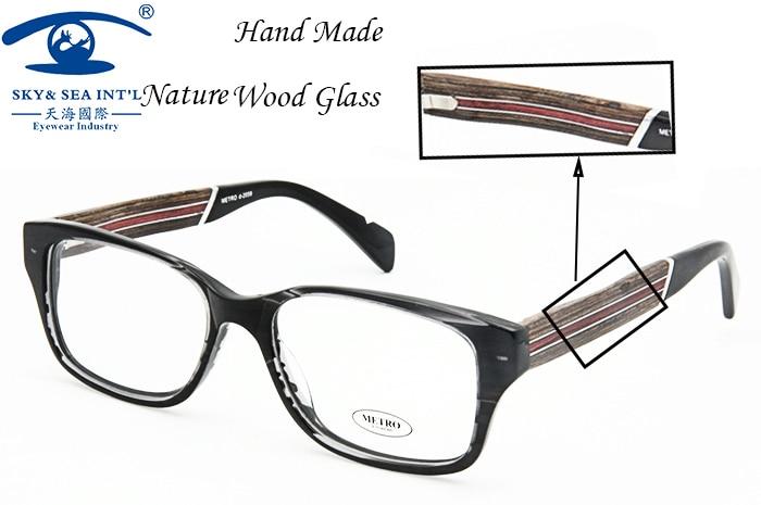 SKY&SEA Optical Real Wood Frame Glasses Men Nerd Women New Square Shape Prescription Eyewear Rx-able Clear Lens
