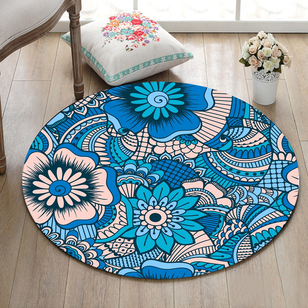 Us 11 98 41 Off Ethnic Blue Vintage Flowers Round Living Room Carpets Children S Floor Area Rugs Bathroom Non Slip Cushion Home Door Mat In